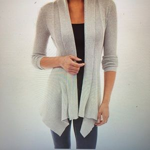 PattyBoutik Ribbed Cascading Open Cardigan